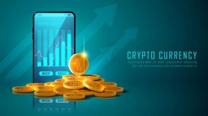 bitcoin-cryptocurrency-with-pile-coins-smartphone_73426-504